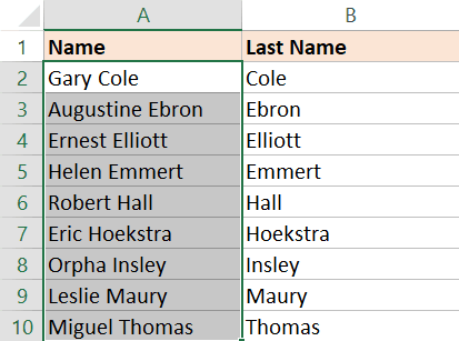 Result of Text to Columns to extract the last name and then sort by it