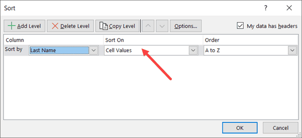 Select Cell Values in Sort Based on