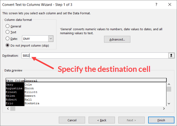 Specify the destination cells for text to columns resulting data