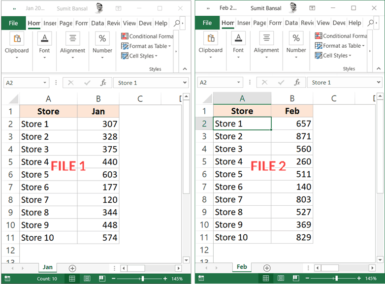 Two files that need to be compared