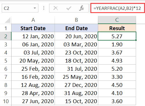 YEARFRAC function to get number of month in decimal