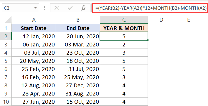 using YEAR and MONTH formula to get the month count
