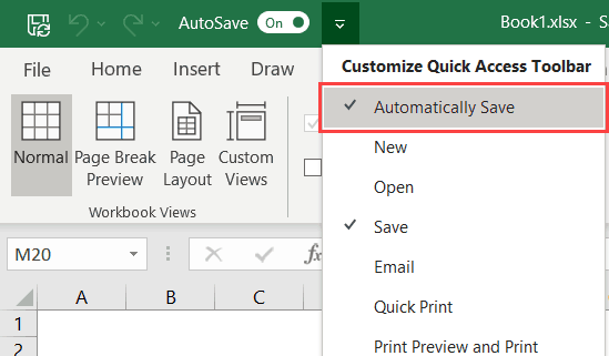 Add Automatically save in Quick Access Toolbar