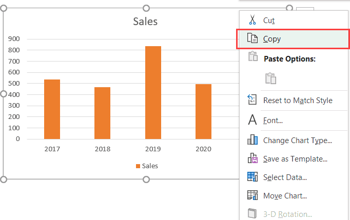 Click on Copy chart