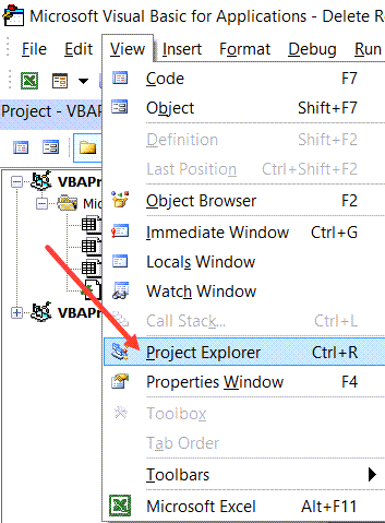 Click-on-Project-Explorer Easy methods to Delete Total Row in Excel Utilizing VBA (Examples)