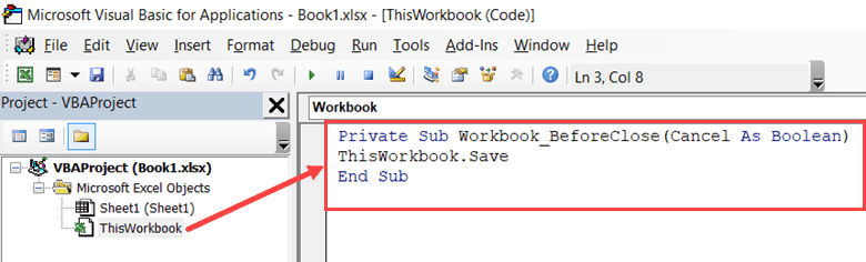 Copy and paste the code to Autosave in the Thisworkbook code window
