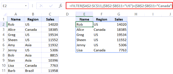Filter based on region OR condition