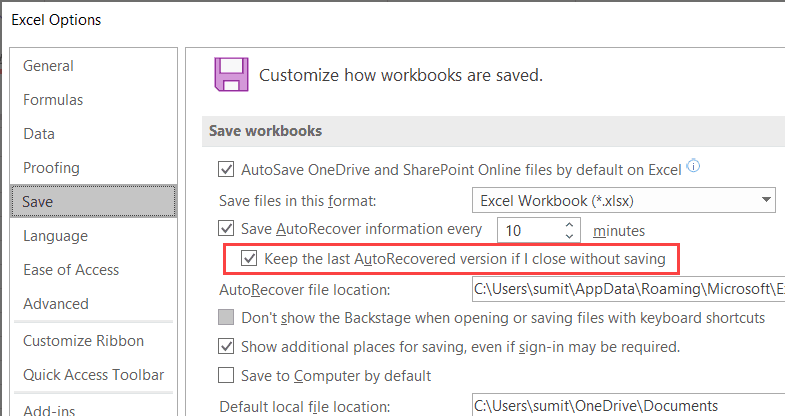 Keep-the-last-autorecovered-version Flip On AutoSave in Excel (An Straightforward Information)