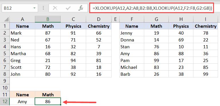 Nested XLOOKUP formula