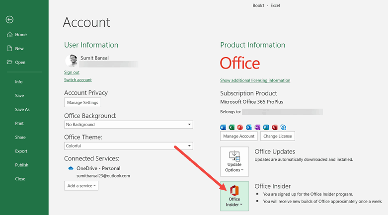Office Insider Option in Account