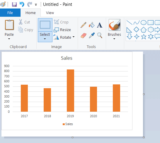 Paste the chart in MS Paint