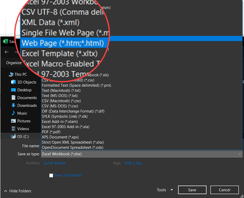 Save as Web Page HTM or HTML