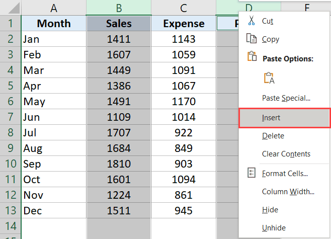 Select non contiguous columns and then click on Insert columns