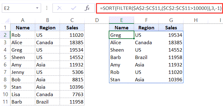 Sort and Filter the data using SORT and FILTER functions in Excel