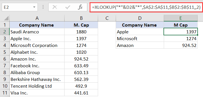XLOOKUP Formula to wildcard lookup