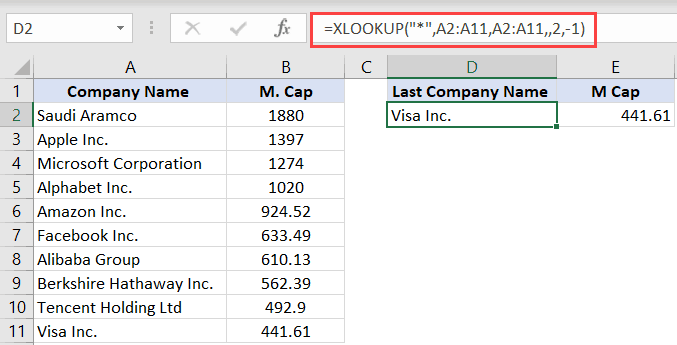 XLOOKUP formula to fetch the last item in the list