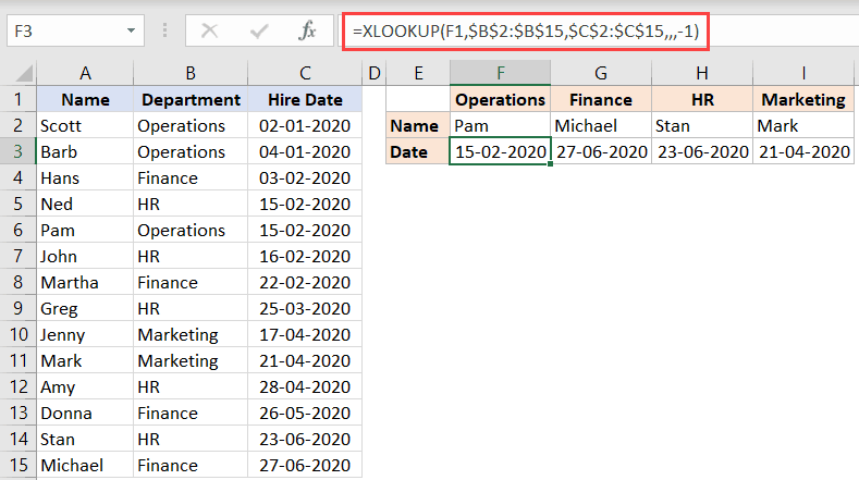 XLOOKUP formula to fetch the last matching value