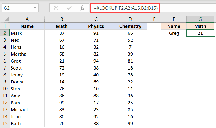 XLOOKUP function to do a simple lookup