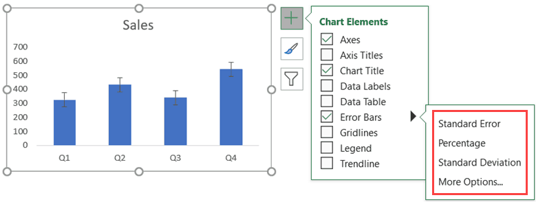 Select the error bar type that you want to add to the chart