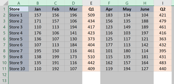 Deselect specific columns in the worksheet