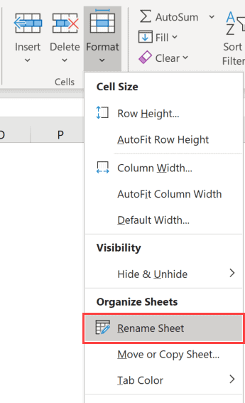 Rename sheet option in the ribbon in Excel