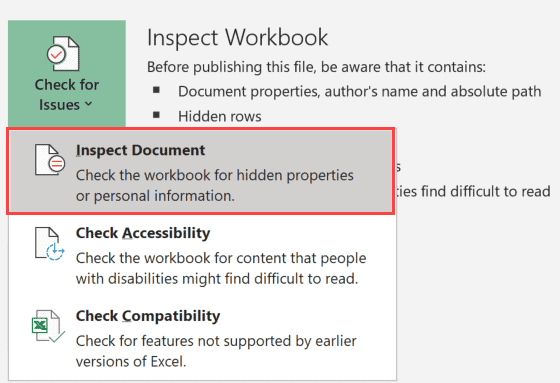 Click on Inspect Document