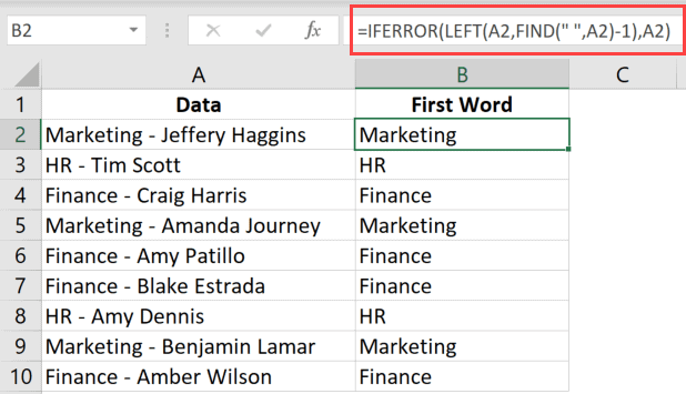 Formula to find and extract only the first word