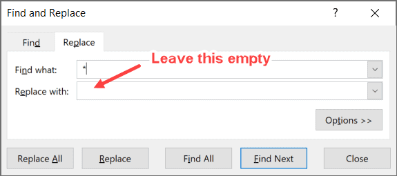 Leave the replace with empty