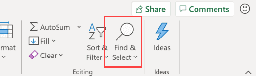 Click on Find and Select