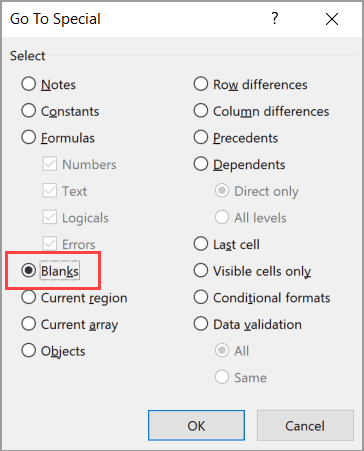 Select Blanks in the Go To Special dialog box