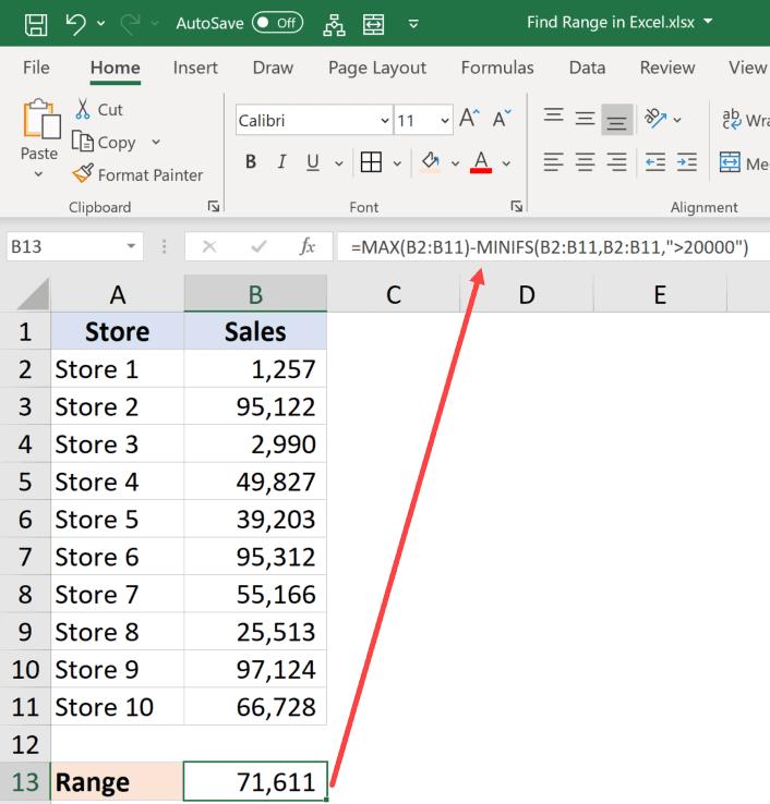 How to Find Range in Excel (Easy Formulas) - Trump Excel