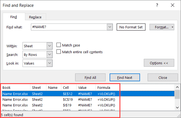 All found cells with name error