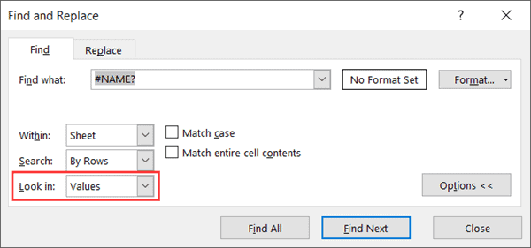 Select Values in Look In
