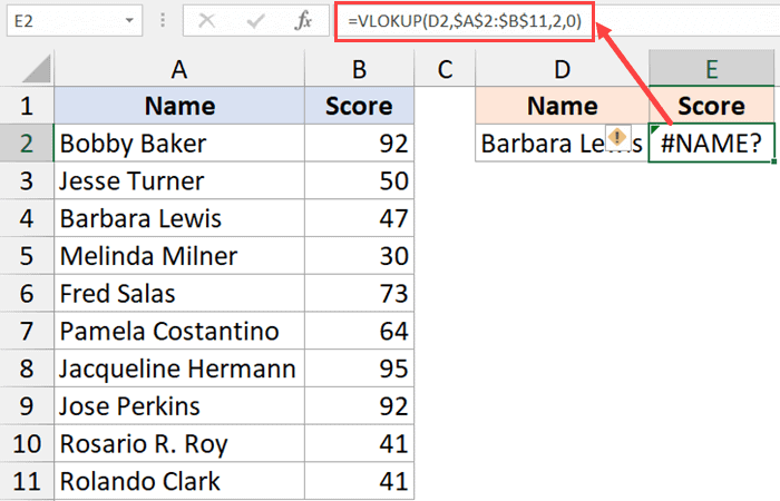 Wrong formula name giving NAME Error